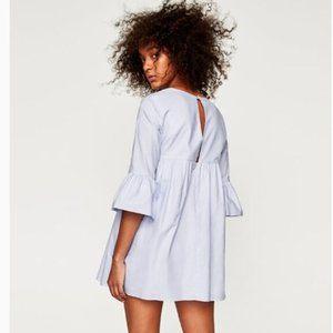 Zara   Striped V-Neck Bell Sleeve Romper Dress